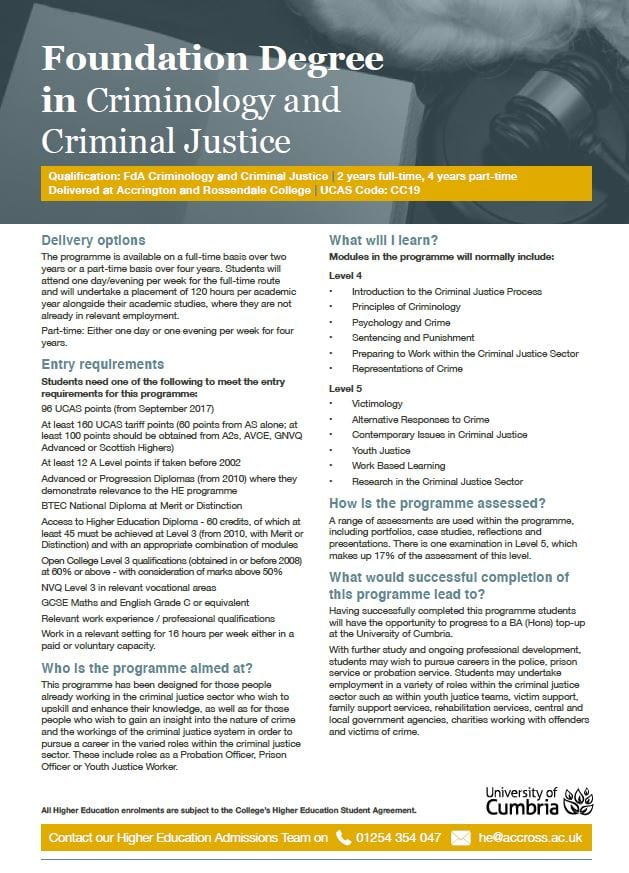 Criminal Justice Degree >> Foundation Degree In Criminology And Criminal Justice Nelson